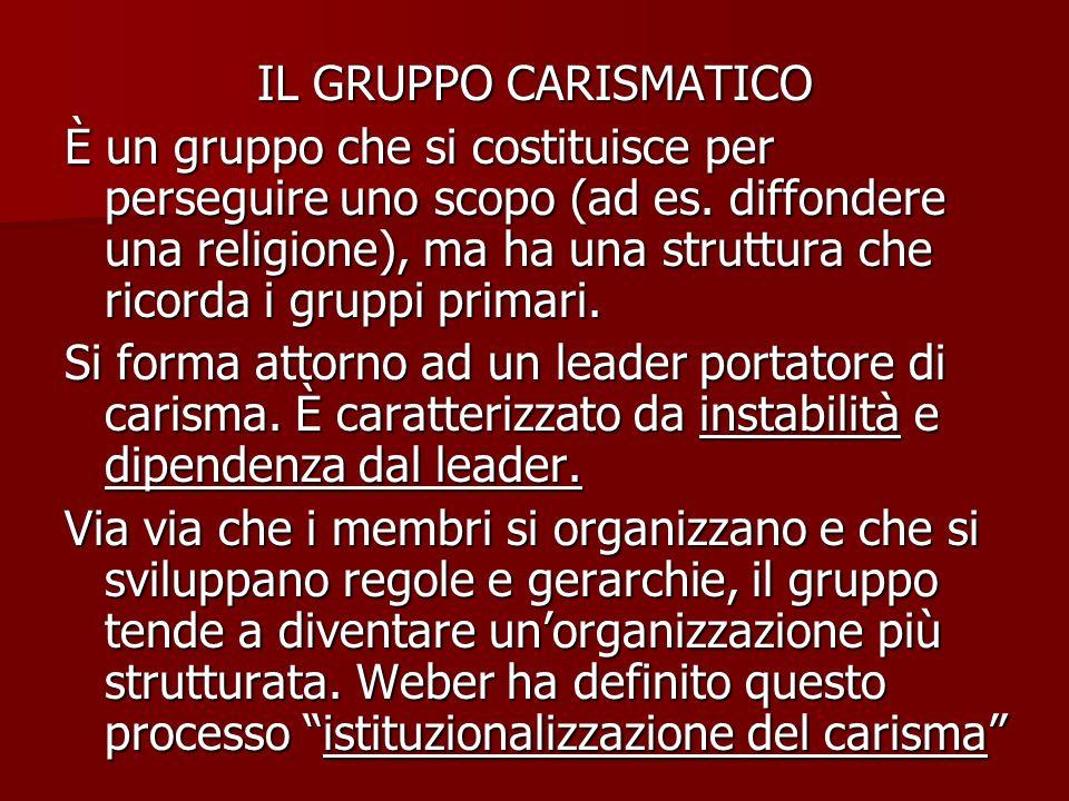 IL GRUPPO CARISMATICO È un gruppo che si costituisce per perseguire uno scopo (ad es. diffondere una religione), ma ha una struttura che ricorda i gru