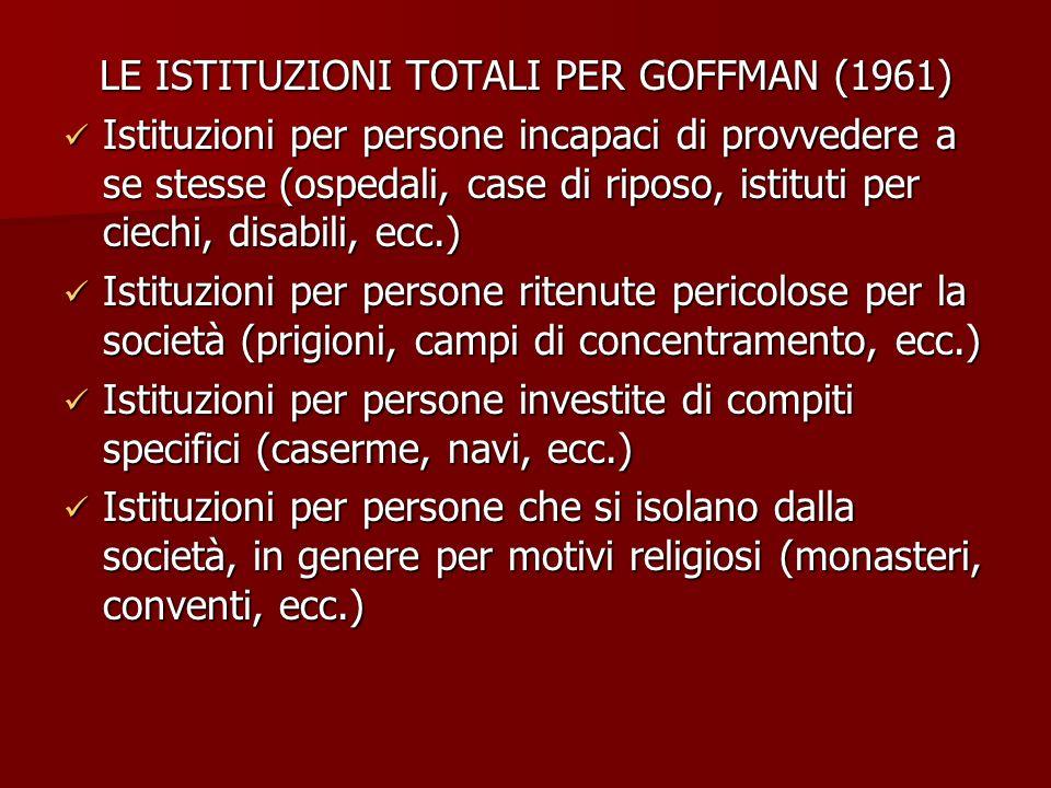 LE ISTITUZIONI TOTALI PER GOFFMAN (1961) Istituzioni per persone incapaci di provvedere a se stesse (ospedali, case di riposo, istituti per ciechi, di