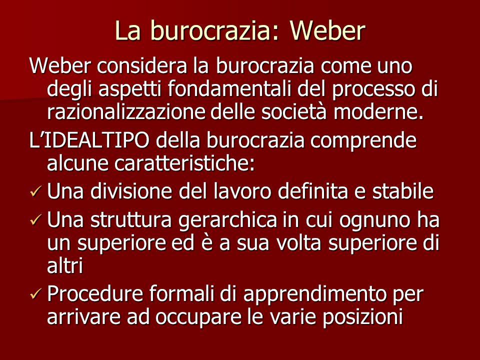 La burocrazia: Weber Weber considera la burocrazia come uno degli aspetti fondamentali del processo di razionalizzazione delle società moderne. LIDEAL