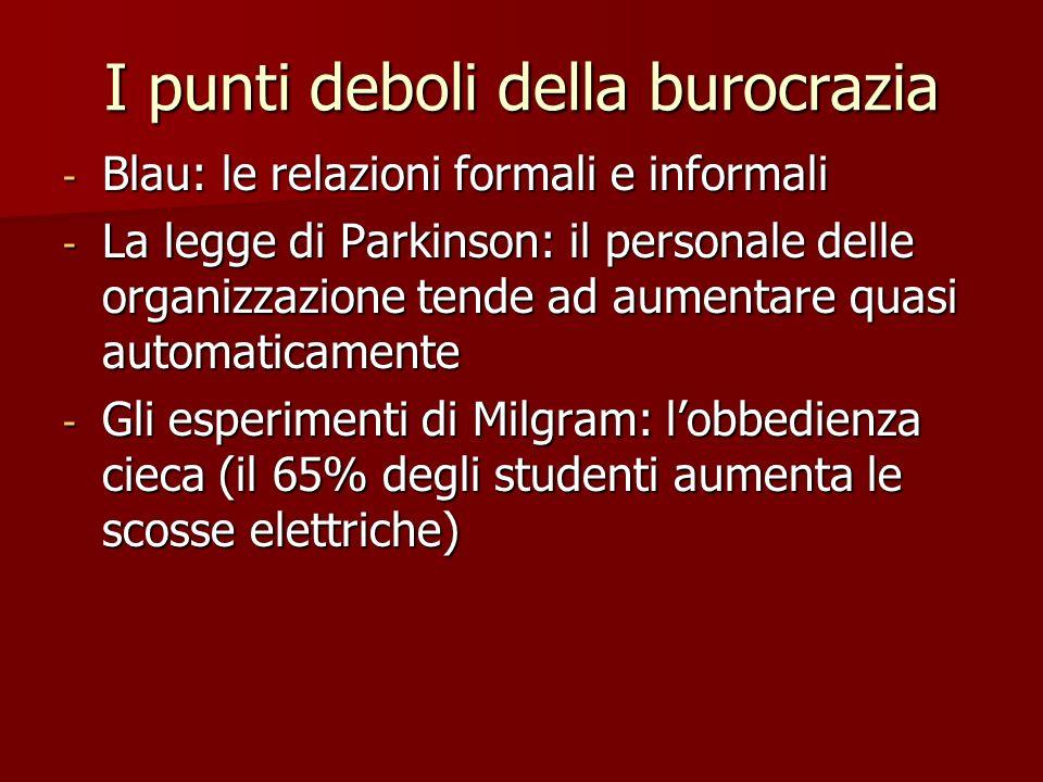 I punti deboli della burocrazia - Blau: le relazioni formali e informali - La legge di Parkinson: il personale delle organizzazione tende ad aumentare