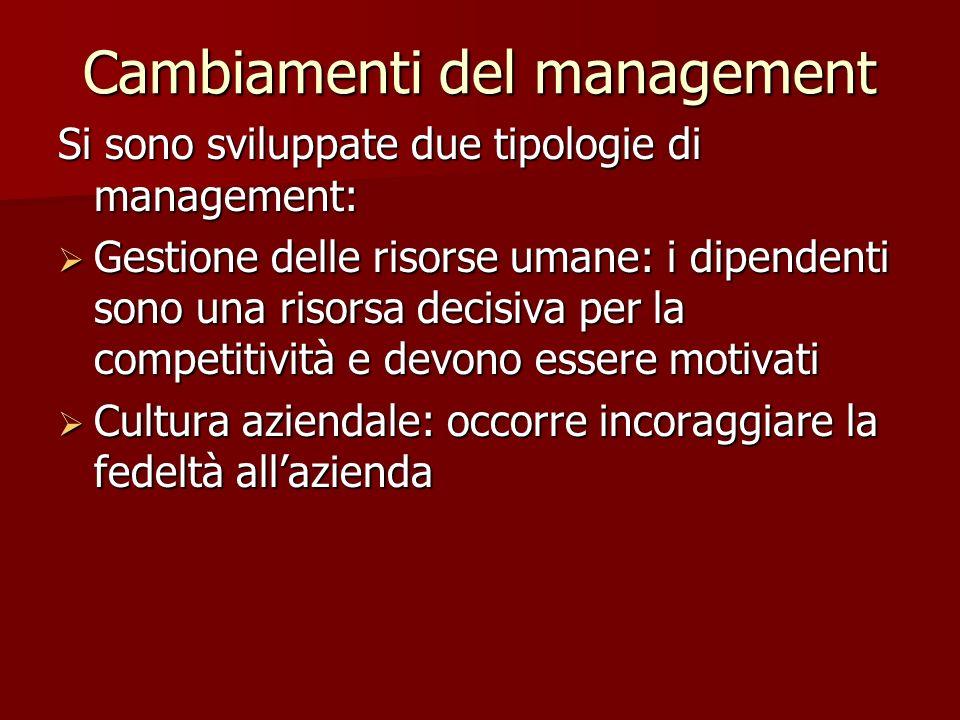 Cambiamenti del management Si sono sviluppate due tipologie di management: Gestione delle risorse umane: i dipendenti sono una risorsa decisiva per la