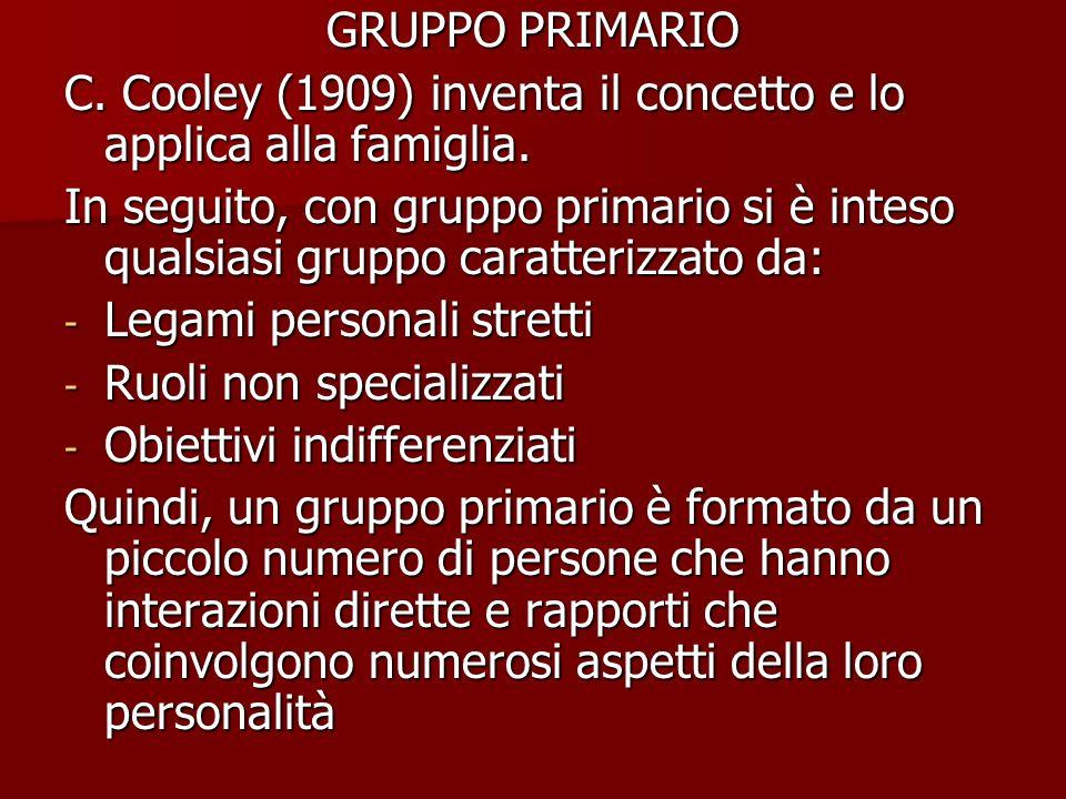 GRUPPO PRIMARIO C. Cooley (1909) inventa il concetto e lo applica alla famiglia. In seguito, con gruppo primario si è inteso qualsiasi gruppo caratter