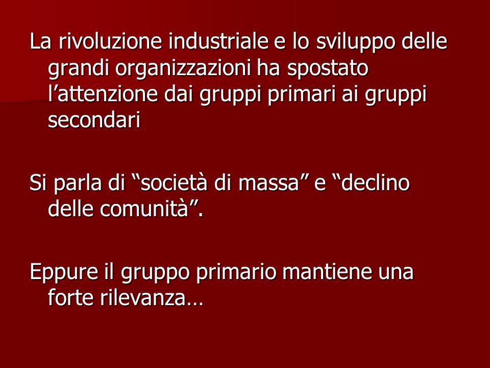 La rivoluzione industriale e lo sviluppo delle grandi organizzazioni ha spostato lattenzione dai gruppi primari ai gruppi secondari Si parla di societ
