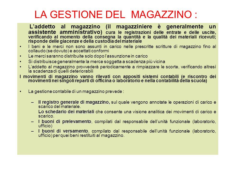 LA GESTIONE DEL MAGAZZINO : Laddetto al magazzino (il magazziniere è generalmente un assistente amministrativo) cura le registrazioni delle entrate e