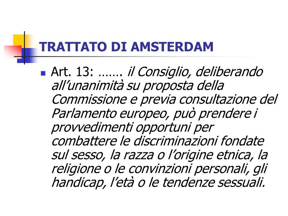TRATTATO DI AMSTERDAM Art. 13: ……. il Consiglio, deliberando allunanimità su proposta della Commissione e previa consultazione del Parlamento europeo,