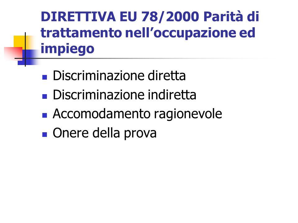DIRETTIVA EU 78/2000 Parità di trattamento nelloccupazione ed impiego Discriminazione diretta Discriminazione indiretta Accomodamento ragionevole Oner