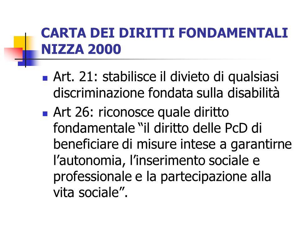 CARTA DEI DIRITTI FONDAMENTALI NIZZA 2000 Art. 21: stabilisce il divieto di qualsiasi discriminazione fondata sulla disabilità Art 26: riconosce quale