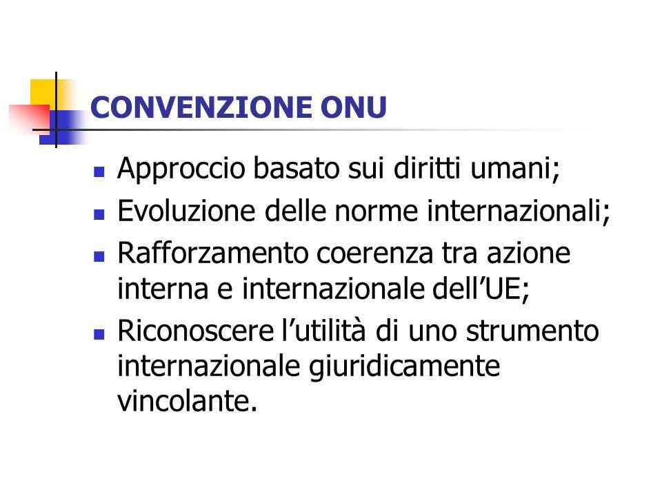 CONVENZIONE ONU Approccio basato sui diritti umani; Evoluzione delle norme internazionali; Rafforzamento coerenza tra azione interna e internazionale