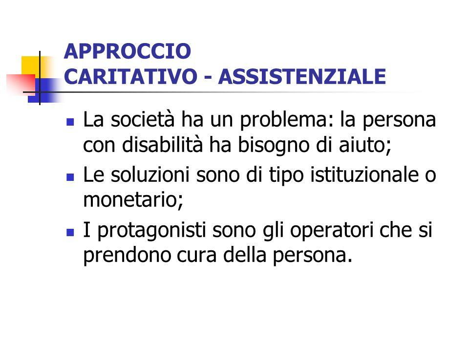 APPROCCIO CARITATIVO - ASSISTENZIALE La società ha un problema: la persona con disabilità ha bisogno di aiuto; Le soluzioni sono di tipo istituzionale