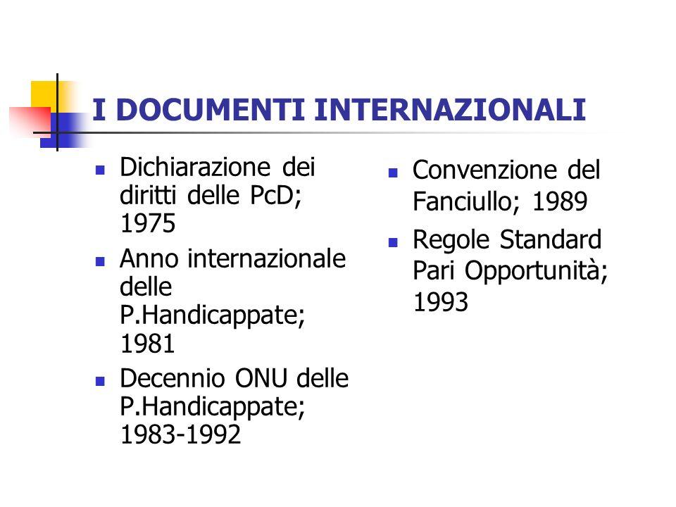 I DOCUMENTI INTERNAZIONALI Dichiarazione dei diritti delle PcD; 1975 Anno internazionale delle P.Handicappate; 1981 Decennio ONU delle P.Handicappate;