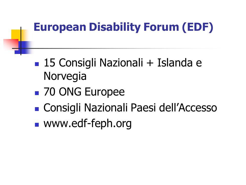 European Disability Forum (EDF) 15 Consigli Nazionali + Islanda e Norvegia 70 ONG Europee Consigli Nazionali Paesi dellAccesso www.edf-feph.org