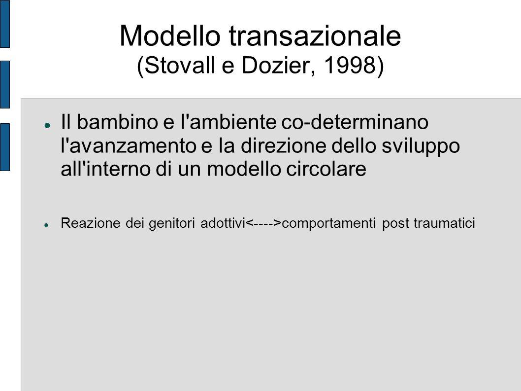 Modello transazionale (Stovall e Dozier, 1998) Il bambino e l'ambiente co-determinano l'avanzamento e la direzione dello sviluppo all'interno di un mo