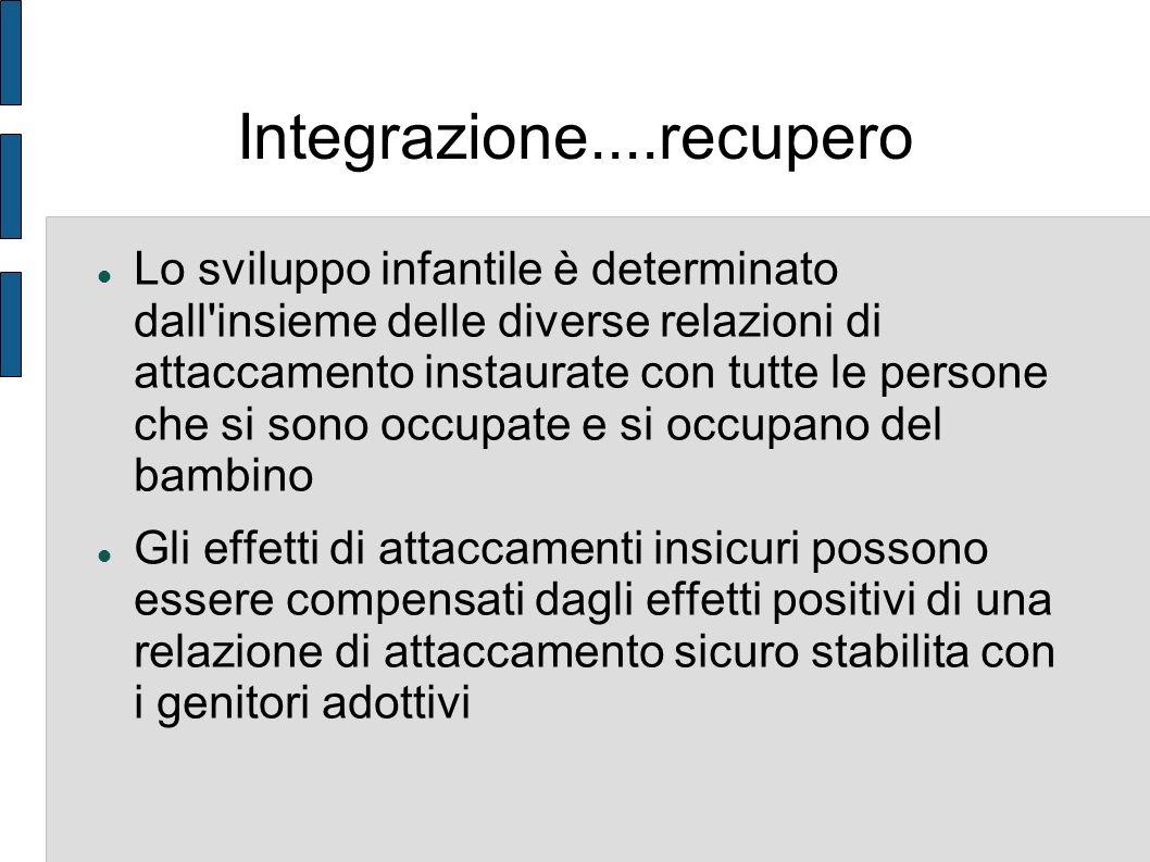 Integrazione....recupero Lo sviluppo infantile è determinato dall'insieme delle diverse relazioni di attaccamento instaurate con tutte le persone che