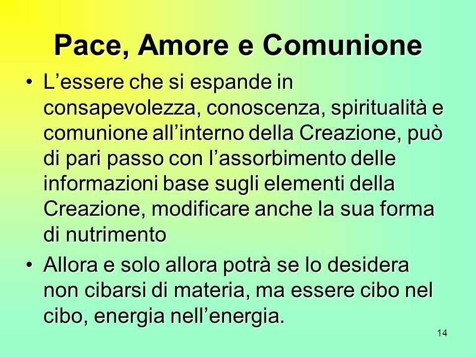 14 Pace, Amore e Comunione Lessere che si espande in consapevolezza, conoscenza, spiritualità e comunione allinterno della Creazione, può di pari pass