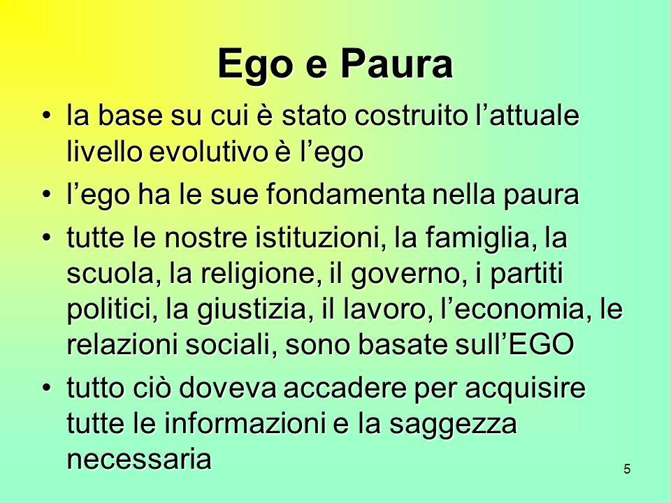 5 Ego e Paura la base su cui è stato costruito lattuale livello evolutivo è legola base su cui è stato costruito lattuale livello evolutivo è lego leg