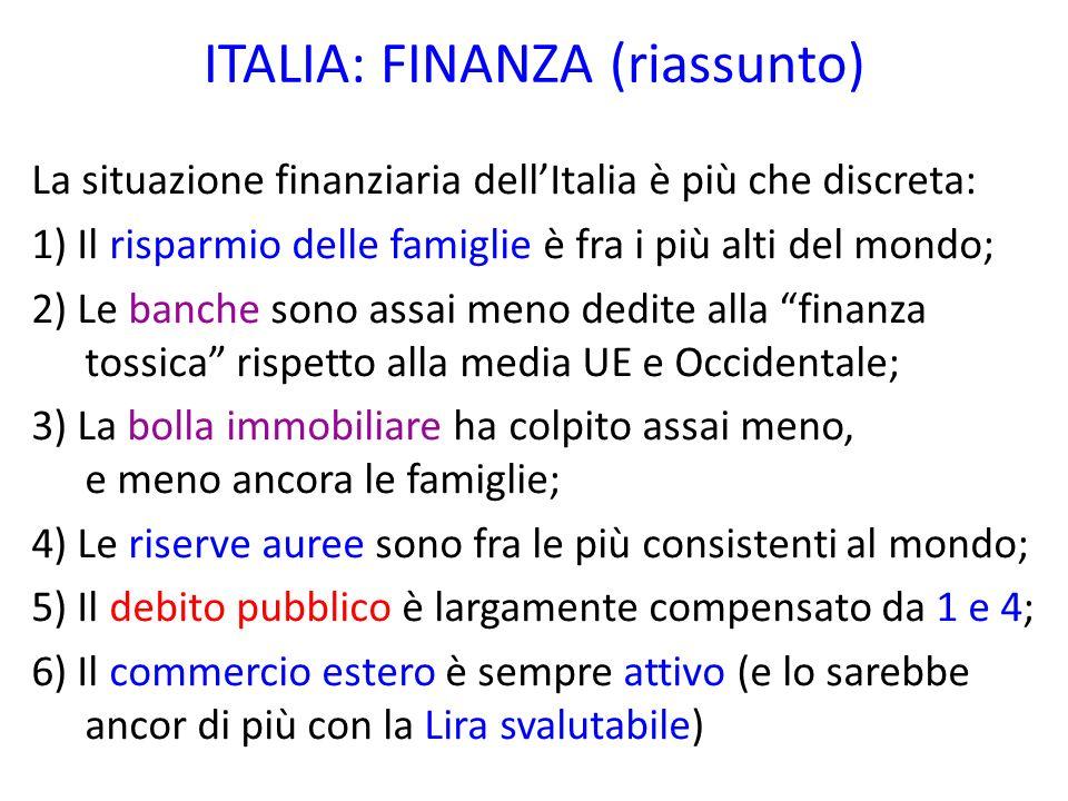 ITALIA: FINANZA (riassunto) La situazione finanziaria dellItalia è più che discreta: 1) Il risparmio delle famiglie è fra i più alti del mondo; 2) Le
