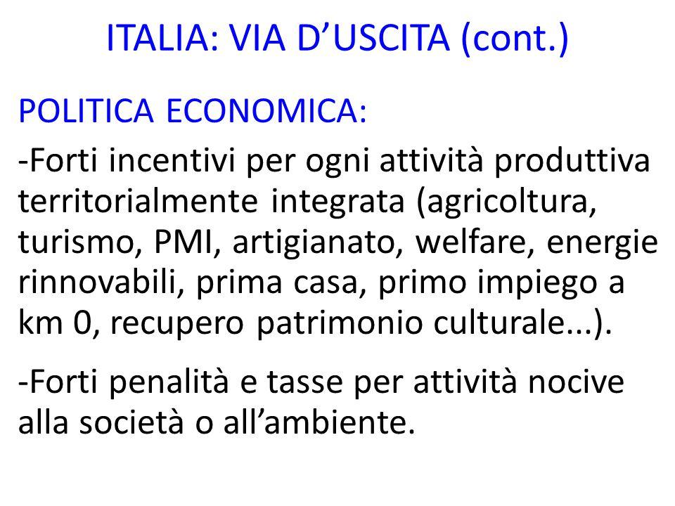 ITALIA: VIA DUSCITA (cont.) POLITICA ECONOMICA: -Forti incentivi per ogni attività produttiva territorialmente integrata (agricoltura, turismo, PMI, a