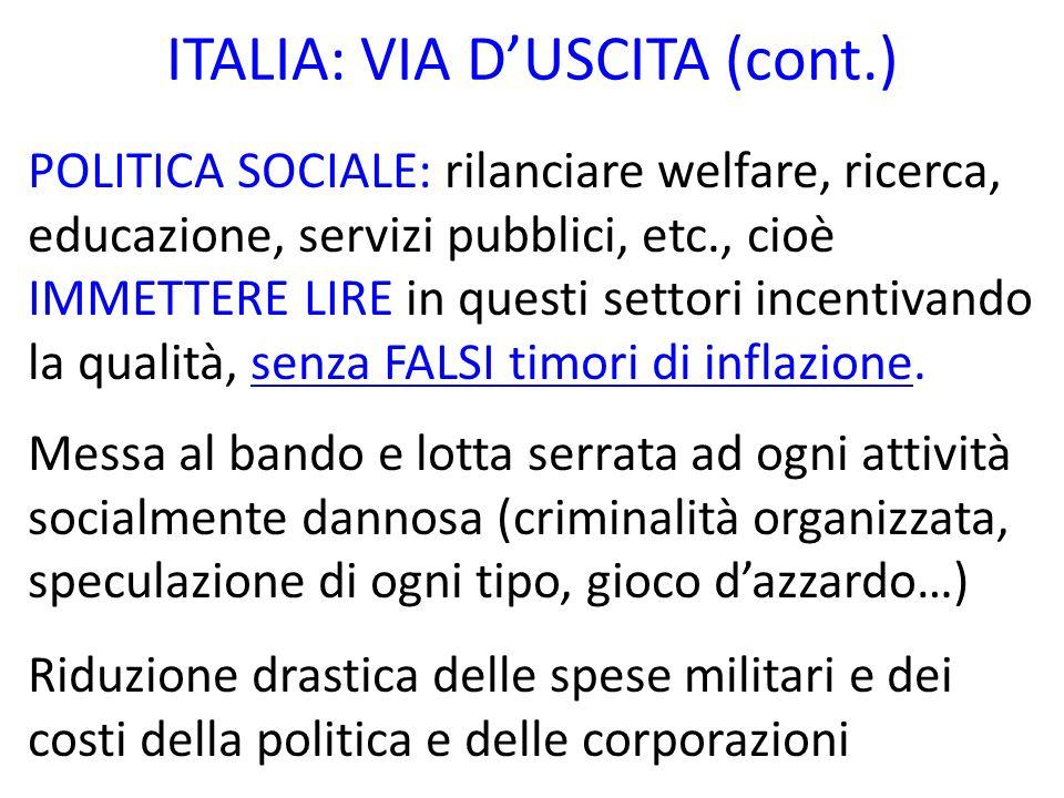 ITALIA: VIA DUSCITA (cont.) POLITICA SOCIALE: rilanciare welfare, ricerca, educazione, servizi pubblici, etc., cioè IMMETTERE LIRE in questi settori i