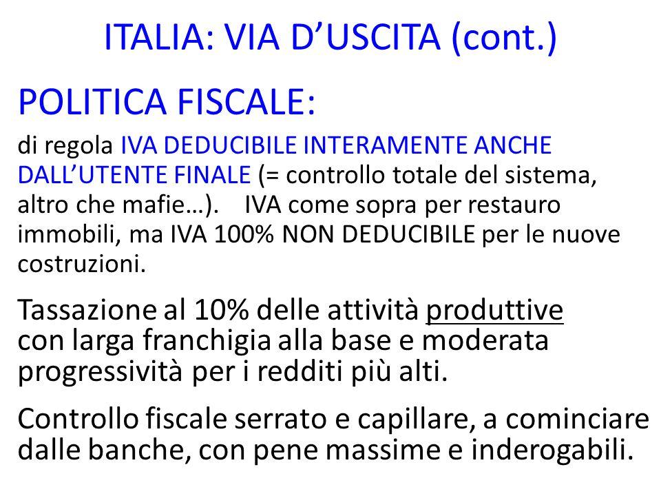 ITALIA: VIA DUSCITA (cont.) POLITICA FISCALE: di regola IVA DEDUCIBILE INTERAMENTE ANCHE DALLUTENTE FINALE (= controllo totale del sistema, altro che