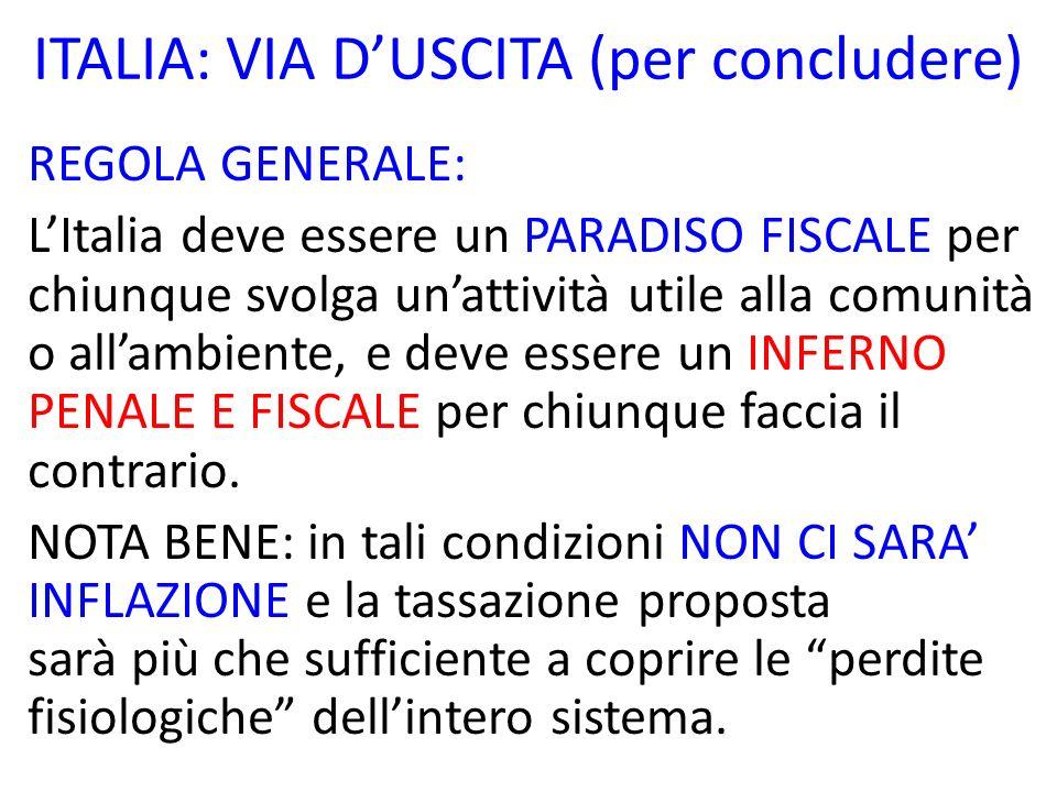ITALIA: VIA DUSCITA (per concludere) REGOLA GENERALE: LItalia deve essere un PARADISO FISCALE per chiunque svolga unattività utile alla comunità o all