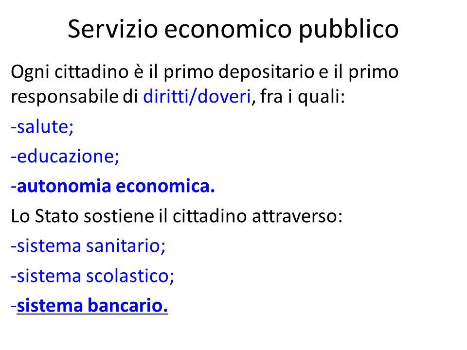 Poiché il SERVIZIO ECONOMICO, che sia gestito da privati o no, è un SERVIZIO PUBBLICO, il cittadino deve abituarsi a concepirlo come un qualsiasi altro SERVIZIO PUBBLICO (EDUCAZIONE, SANITA, etc.).