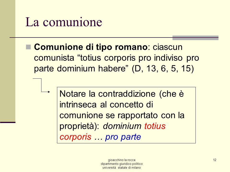 gioacchino la rocca dipartimento giuridico politico università statale di milano 12 La comunione Comunione di tipo romano: ciascun comunista totius co