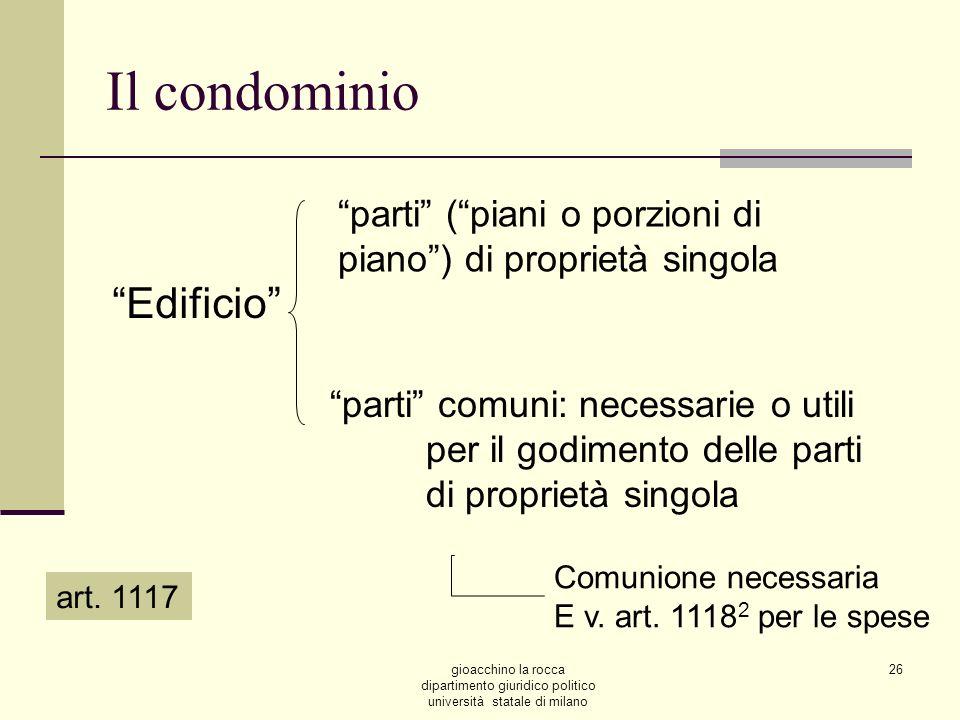 gioacchino la rocca dipartimento giuridico politico università statale di milano 26 Il condominio Edificio parti (piani o porzioni di piano) di propri