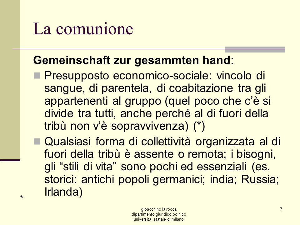 gioacchino la rocca dipartimento giuridico politico università statale di milano 7 La comunione Gemeinschaft zur gesammten hand: Presupposto economico