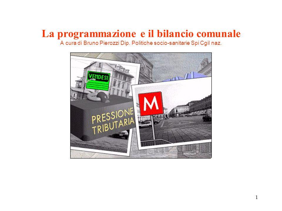 1 La programmazione e il bilancio comunale A cura di Bruno Pierozzi Dip. Politiche socio-sanitarie Spi Cgil naz.