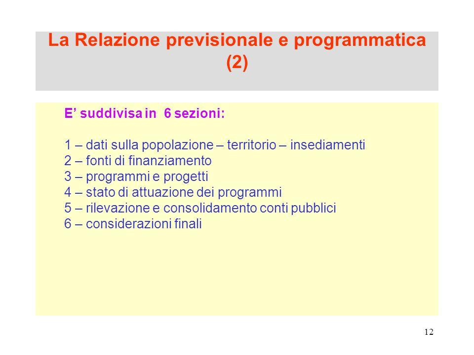 12 La Relazione previsionale e programmatica (2) E suddivisa in 6 sezioni: 1 – dati sulla popolazione – territorio – insediamenti 2 – fonti di finanzi