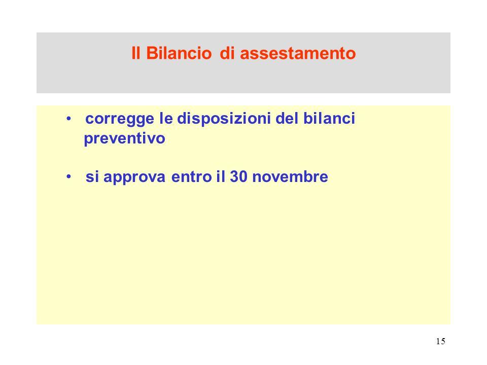 15 Il Bilancio di assestamento corregge le disposizioni del bilanci preventivo si approva entro il 30 novembre
