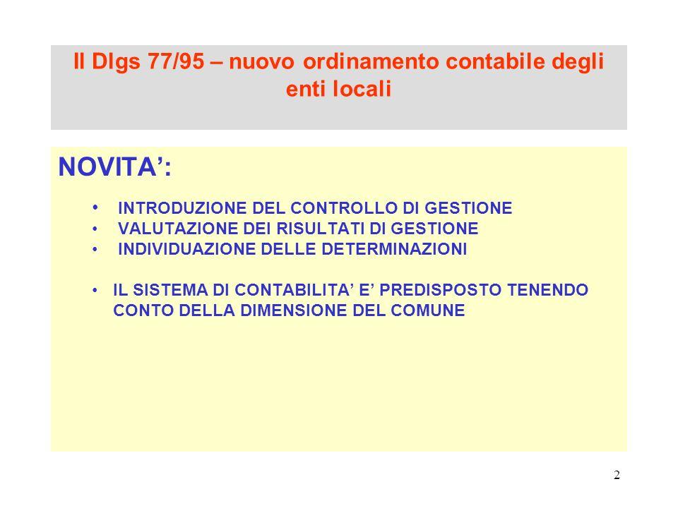 2 Il Dlgs 77/95 – nuovo ordinamento contabile degli enti locali NOVITA: INTRODUZIONE DEL CONTROLLO DI GESTIONE VALUTAZIONE DEI RISULTATI DI GESTIONE I