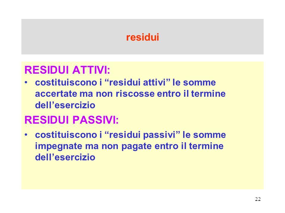 22 residui RESIDUI ATTIVI: costituiscono i residui attivi le somme accertate ma non riscosse entro il termine dellesercizio RESIDUI PASSIVI: costituis