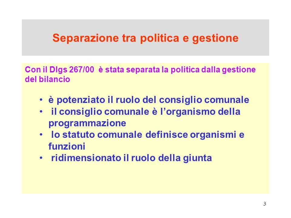 3 Separazione tra politica e gestione Con il Dlgs 267/00 è stata separata la politica dalla gestione del bilancio è potenziato il ruolo del consiglio