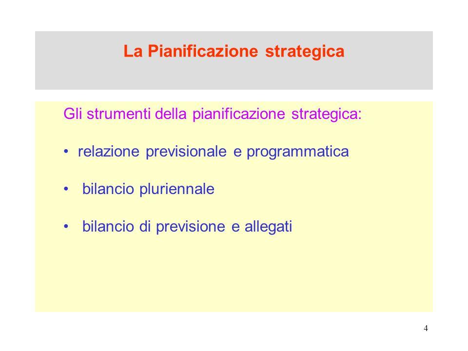 4 La Pianificazione strategica Gli strumenti della pianificazione strategica: relazione previsionale e programmatica bilancio pluriennale bilancio di