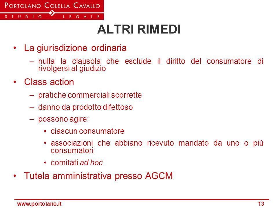 www.portolano.it 13 ALTRI RIMEDI La giurisdizione ordinaria –nulla la clausola che esclude il diritto del consumatore di rivolgersi al giudizio Class