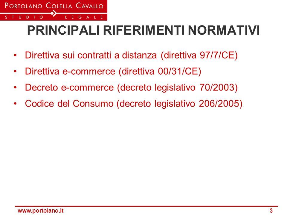 www.portolano.it 3 PRINCIPALI RIFERIMENTI NORMATIVI Direttiva sui contratti a distanza (direttiva 97/7/CE) Direttiva e-commerce (direttiva 00/31/CE) D