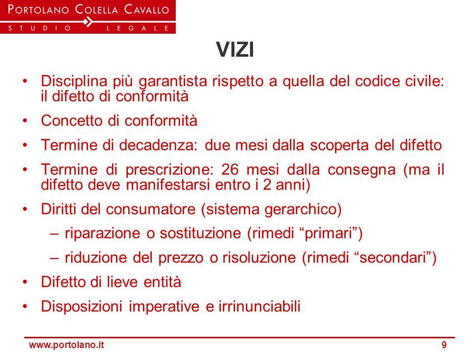www.portolano.it 9 VIZI Disciplina più garantista rispetto a quella del codice civile: il difetto di conformità Concetto di conformità Termine di deca