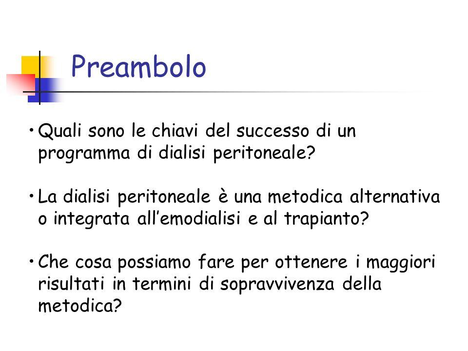 Preambolo Quali sono le chiavi del successo di un programma di dialisi peritoneale? La dialisi peritoneale è una metodica alternativa o integrata alle
