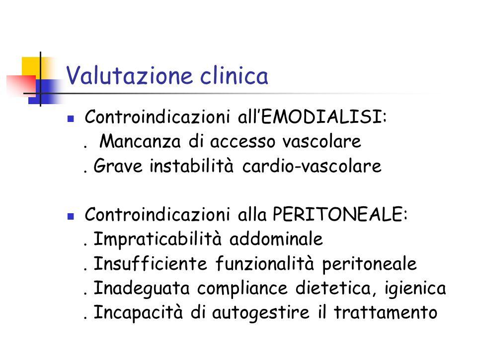 Valutazione clinica Controindicazioni allEMODIALISI:. Mancanza di accesso vascolare. Grave instabilità cardio-vascolare Controindicazioni alla PERITON