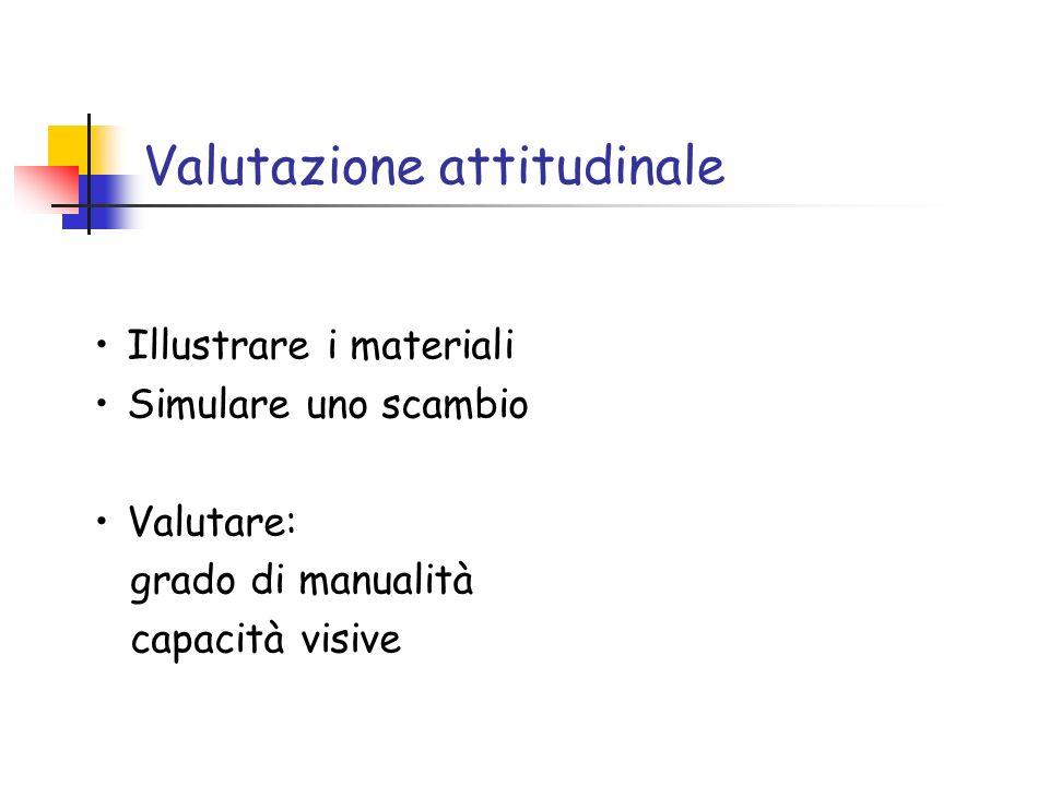 Valutazione attitudinale Illustrare i materiali Simulare uno scambio Valutare: grado di manualità capacità visive