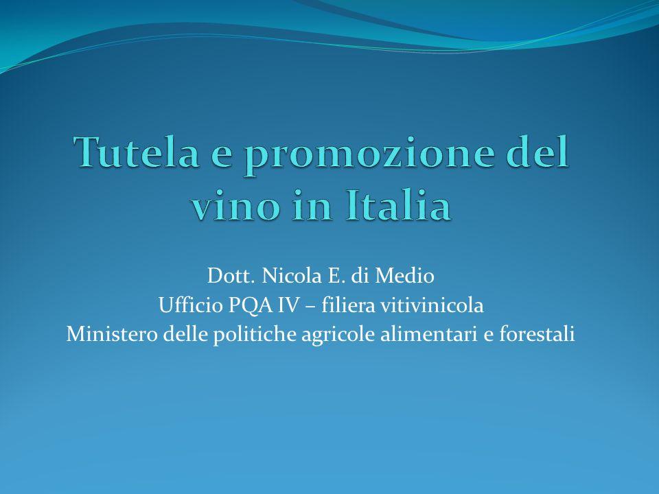 Il settore vitivinicolo in Italia Superficie vigneto Italia: 632.000 ettari; Aziende viticole: n.