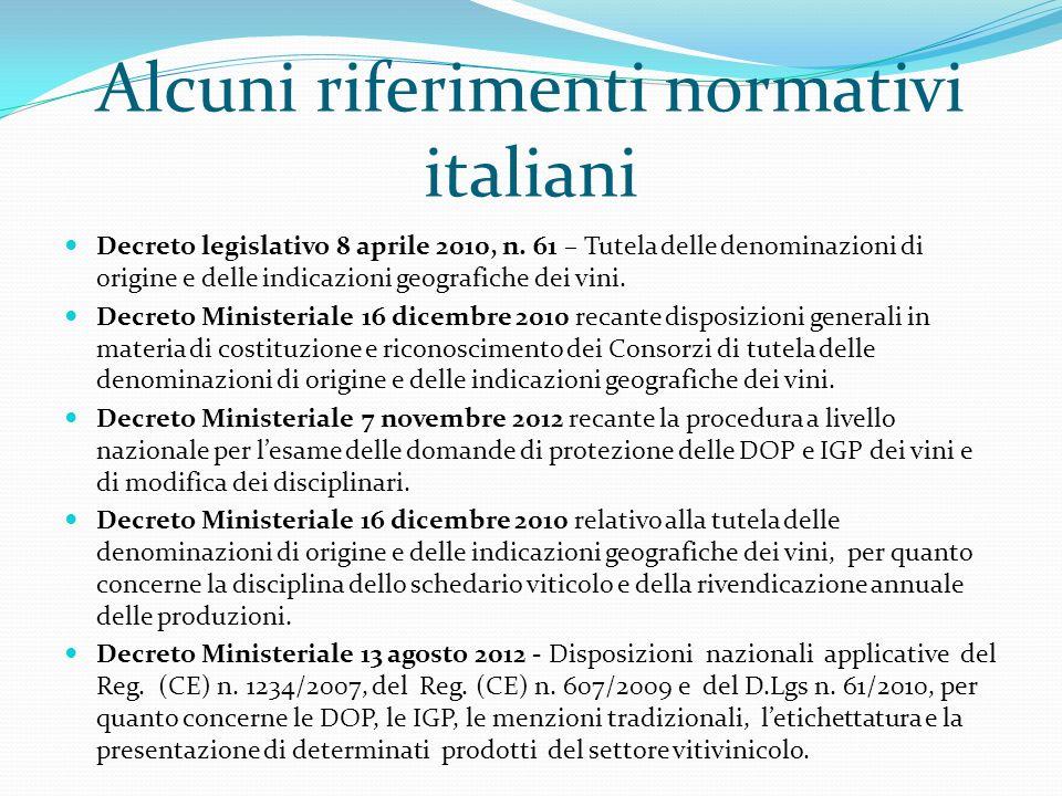 Alcuni riferimenti normativi italiani Decreto legislativo 8 aprile 2010, n. 61 – Tutela delle denominazioni di origine e delle indicazioni geografiche