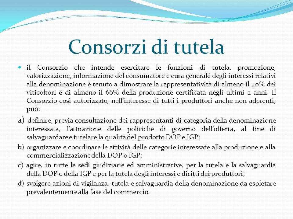 Consorzi di tutela il Consorzio che intende esercitare le funzioni di tutela, promozione, valorizzazione, informazione del consumatore e cura generale