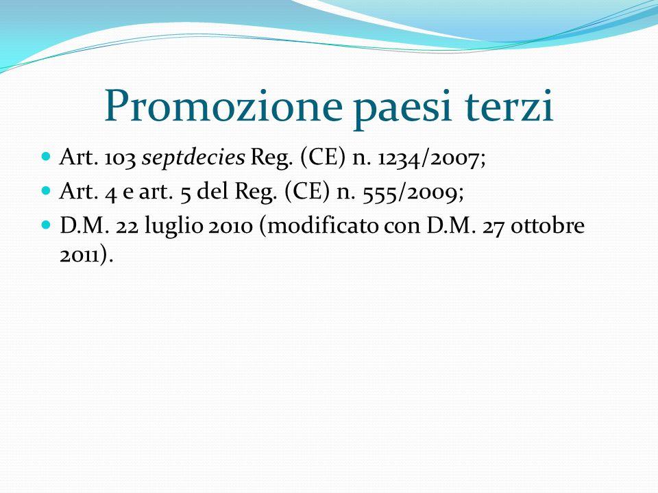 Promozione paesi terzi Art. 103 septdecies Reg. (CE) n. 1234/2007; Art. 4 e art. 5 del Reg. (CE) n. 555/2009; D.M. 22 luglio 2010 (modificato con D.M.