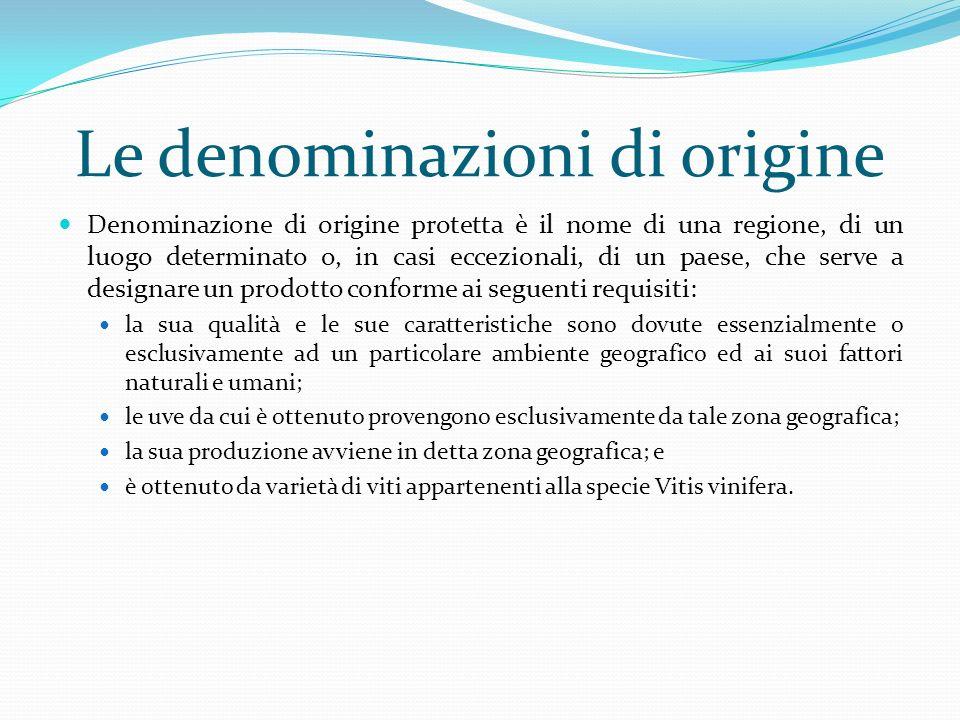 Le indicazioni geografiche Indicazione geografica protetta è lindicazione che si riferisce a una regione, a un luogo determinato o, in casi eccezionali, a un paese, che serve a designare un prodotto conforme ai seguenti requisiti: possiede qualità, notorietà o altre caratteristiche specifiche attribuibili a tale origine geografica; le uve da cui è ottenuto provengono per almeno l85% esclusivamente da tale zona geografica; la sua produzione avviene in detta zona geografica; e è ottenuto da varietà di viti appartenenti alla specie Vitis vinifera o da un incrocio tra la specie Vitis vinifera e altre specie del genere Vitis.