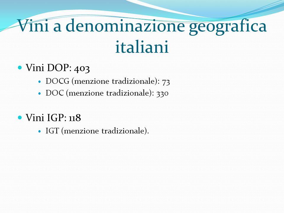 Vini a denominazione geografica italiani Vini DOP: 403 DOCG (menzione tradizionale): 73 DOC (menzione tradizionale): 330 Vini IGP: 118 IGT (menzione t