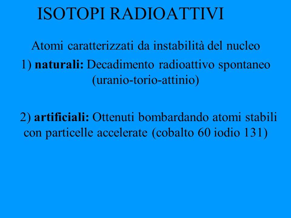 ISOTOPI RADIOATTIVI Atomi caratterizzati da instabilità del nucleo 1) naturali: Decadimento radioattivo spontaneo (uranio-torio-attinio) 2) artificial