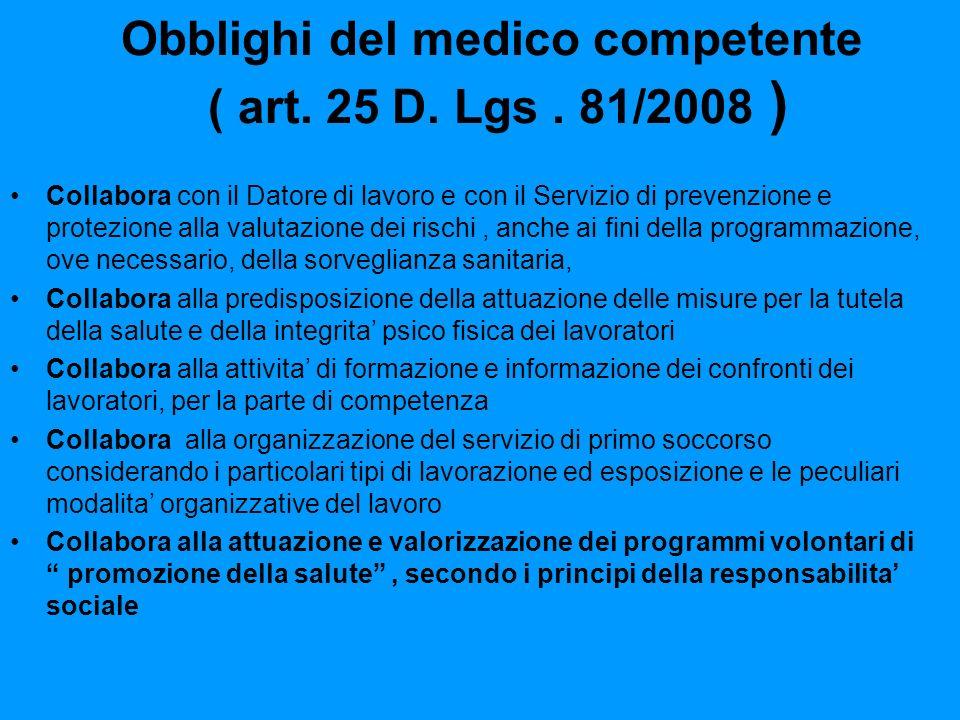 Obblighi del medico competente ( art. 25 D. Lgs. 81/2008 ) Collabora con il Datore di lavoro e con il Servizio di prevenzione e protezione alla valuta