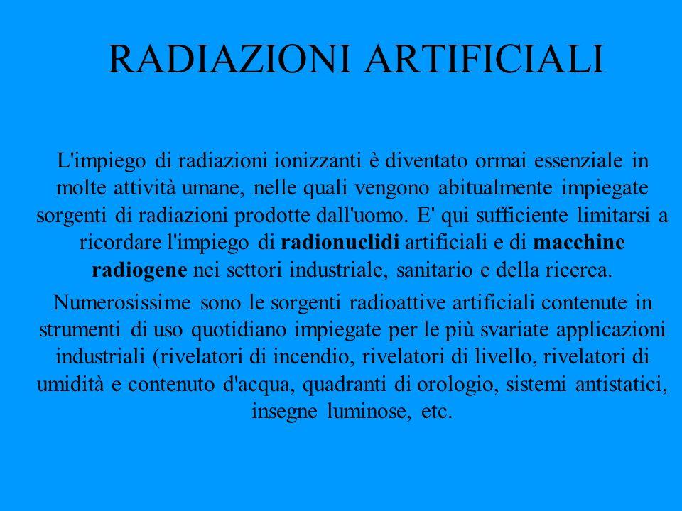 RADIAZIONI ARTIFICIALI L'impiego di radiazioni ionizzanti è diventato ormai essenziale in molte attività umane, nelle quali vengono abitualmente impie